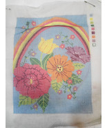 Pastel Flowers & Rainbow Needlepoint Canvas 9 x 12 inches Mesh - 12 Count - $20.82