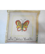 """Butterfly Orange & Yellow Needlepoint Canvas 6"""" sq The Creative Needle 1... - $15.82"""