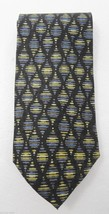 Jhane Barnes Black Diamonds w Blue Green Silk Necktie 4 x 60 Made in Japan - $32.83