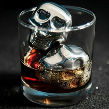 2 Pcs Skull Stainless Steel Ice Cubes Whiskey Wine Beer Chillers Shaped ... - $5.99