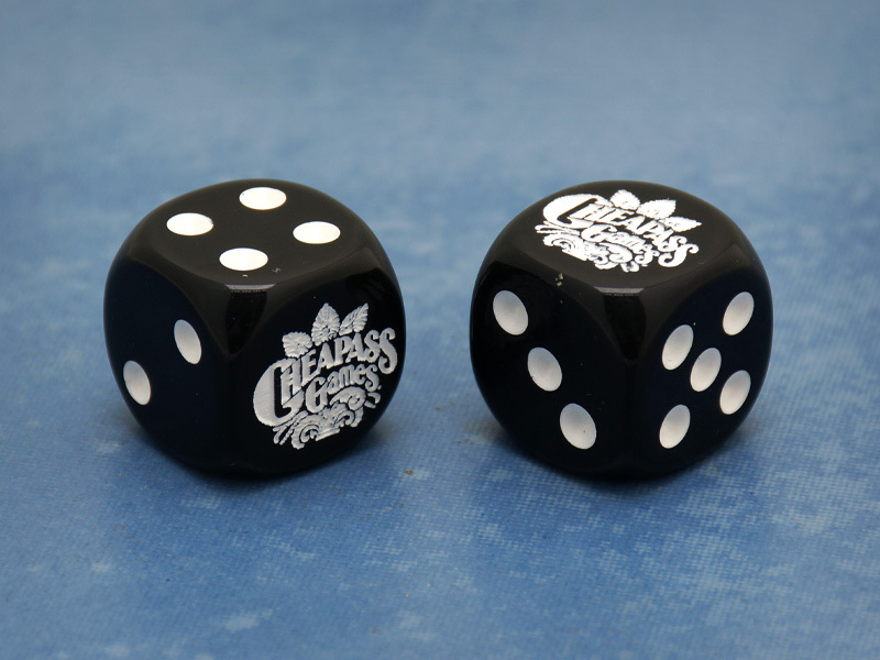 Custom Cheapass Games Six-Sided Die (Black w/White)