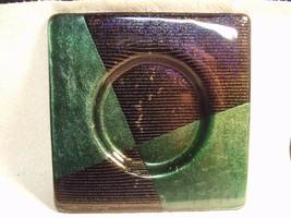"2006 SIGNED GALLEN (MAGGIE GALLEN) 6"" SQUARE DICHROIC FUSED ART GLASS PI... - $39.60"