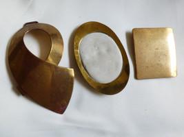 VTG Lot of 3 Brass metal large belt Buckles - $24.75