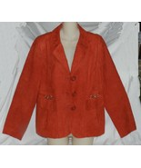 Studio Works Reddish Orange Tangerine Size 10 Faux Suede Blazer or Jacket - $18.99