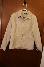 J.H. Collectibles Beige Sueded Button Down Shirt - Size Ladies Large - $14.99