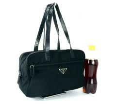 Auth PRADA Milano Black Nylon Tote Small Semi Shoulder Hand Bag Purse It... - $177.21