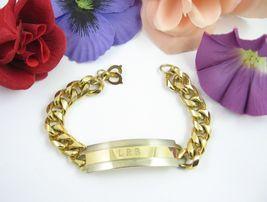 "Vintage Men's Id Bracelet Goldtone Chain Initials Engraved L.R.B. Signed M 8"" - $23.99"