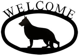 Wrought Iron Welcome Sign German Shepherd Silhouette Outdoor Dog Plaque ... - $34.99