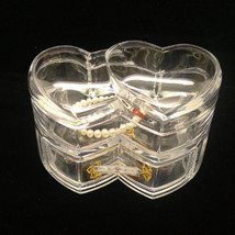 Clear Acrylic Makeup Organizer Double Heart Acr... - $12.50