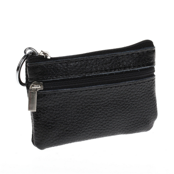 Used, Men Women Durable Leather Zipper Coin Purse Mini Wallet Key Pouch for sale  USA