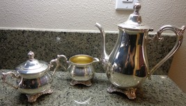VTG Victorian Rose WM Rogers & Son Service Set Tea Pot Coffee Pot Creamer Sugar - $79.99