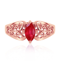 0.2 Ct 14k Solid Rose Gold Lily Ruby Ring - $376.26