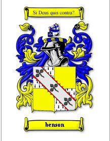 BENSON SURNAME COAT OF ARMS PRINT - GENEAL Bonanza