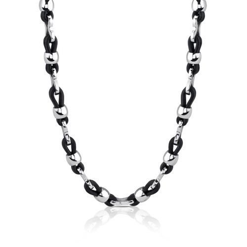 Men's Stainless Steel and Rubber Fancy Link Necklace