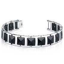 Mens Faceted Black Ceramic and Stainless Steel Bracelet Style - $70.11