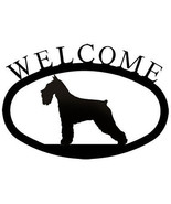 Wrought Iron Welcome Sign Schnauzer Silhouette Outdoor Dog Plaque Decor - $21.99