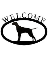 Wrought Iron Welcome Sign Pointer Silhouette Outdoor Dog Plaque Patio Decor - $21.99