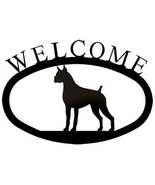 Wrought Iron Welcome Sign Boxer Silhouette Outdoor Dog Plaque Patio Deco... - $21.99