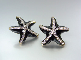 Adorable Sparkle Black Lacquer Enamel Cz Crystals Starfish Post Earrings - $15.99