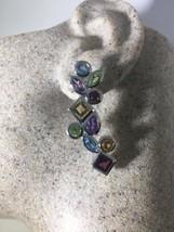 Vintage Geniune Mixed Colored Gemstone 925 Sterling Silver Chandelier Ea... - $193.71