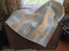 new handmade baby quilt Blue/yellowPastels35.5.x38 100%Cotton reversible... - $46.06