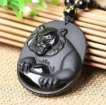 natural Obsidian stone Hand carved tiger good luck charm beaded pendant - $26.72