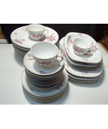 38 PIECES THUNY CZECHOSLOVAKIA DINNERWARE~~~white pink flowers~~Look - $59.95