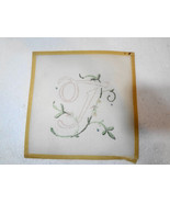 """T Initial Letter Script with Flowers Needlepoint Canvas 4"""" square 18 cou... - $18.61"""