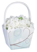 Love Birds Wedding Flower Girl Basket Ceremony Tree Branch White Satin Bird - $15.00