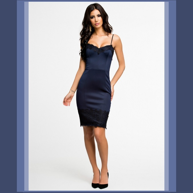 Navy Spaghetti Strap Knee Length Black Eyelash Lace Trimmed Sheath Evening Dress