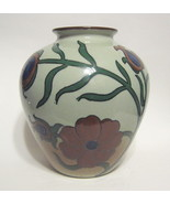 Peacock Feather & Floral Vase Hand Painted Ceramic - $49.00