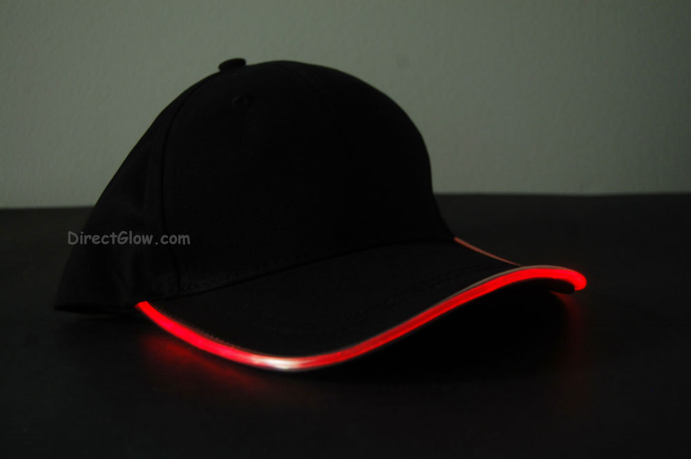 Primary image for Black Fabric Red LED Lighted Glow Hat