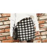 Classic Woven Houndstooth Checkered Black and White Plaid Mini Pencil Skirt - $59.95