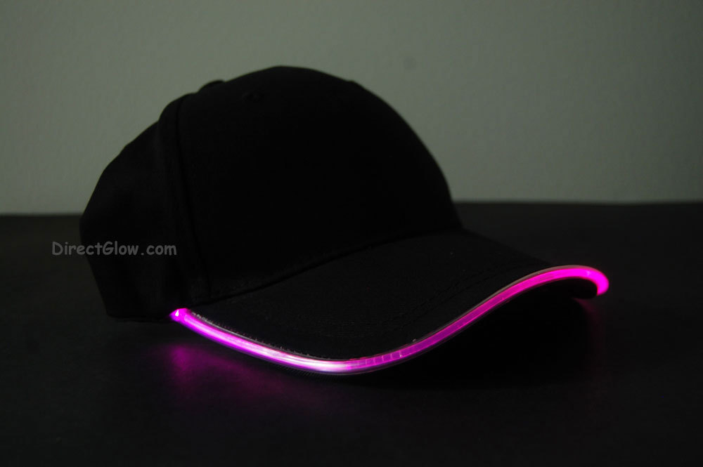 Black Fabric Pink LED Lighted Glow Hat