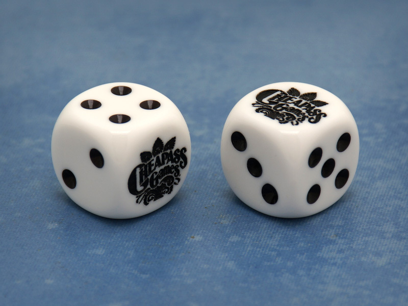 Custom Cheapass Games Six-Sided Die (White w/Black)
