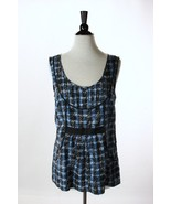 Anthropologie Odille Blue Black Plaid Tank Top 6 - $28.95