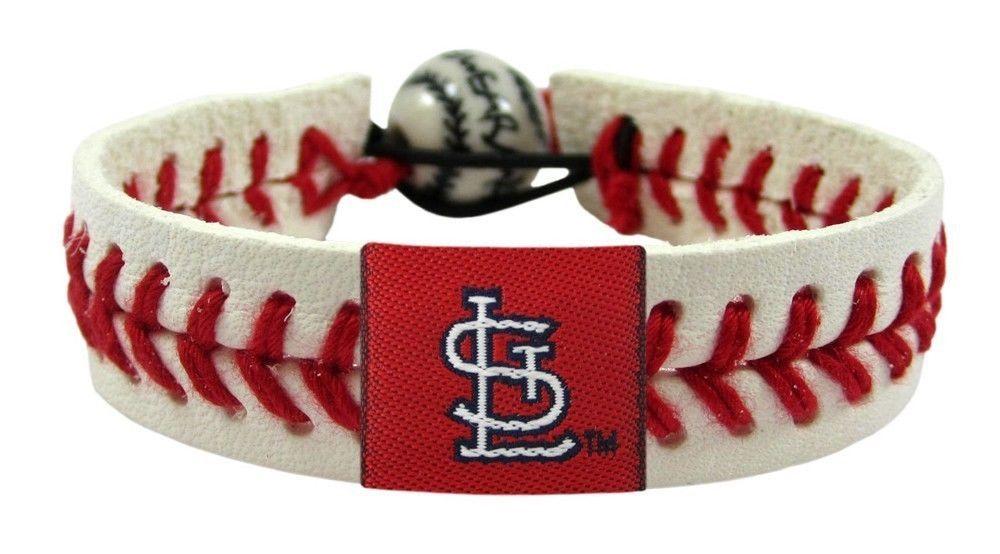 ST. LOUIS CARDINALS CLASSIC LEATHER LACES SEAM BRACELET MLB BASEBALL