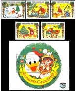 TURKS & CAICOS DISNEY XMAS 1984 DONALD DUCK SET/5 + S/S - $12.75