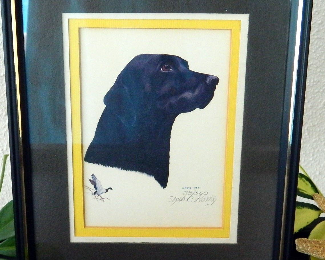 Vintage Black Labrador Retriever Lab Dog Limited Edition Print 1983