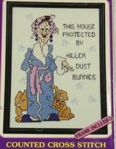 Janlynn Aunt Tizzy Talks Dust Bunnies Cross-Stitch Kit With Frame New AT05 - $13.99
