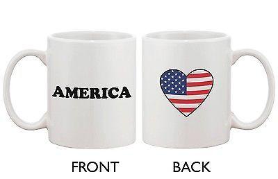 American Flag Design Ceramic Mug - America with Heart Design
