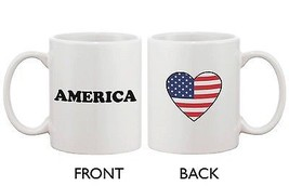 American Flag Design Ceramic Mug - America with Heart Design - $14.99