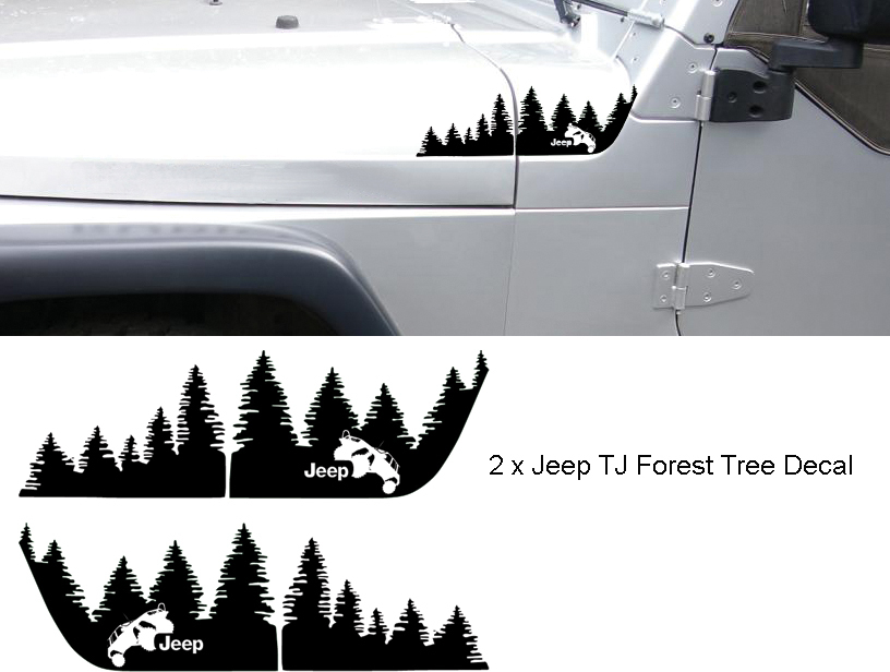 Set of WRANGLER Jeep TJ Hood Forest Tree Decal Set.
