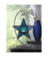 Blue Glass Star Candle Lantern Morroccan Stand ... - $43.68