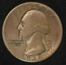1938-P SILVER WASHINGTON QUARTER. FREE SHIPPING!!!!!!!!!!!! - $7.38