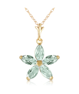 1.4 Ct 14k Solid Yellow Gold One Rainy Day Green Amethyst Necklace - $200.18+