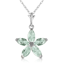 1.4 Ct 14k Solid White Gold One Rainy Day Green Amethyst Necklace - $200.18 - $239.17