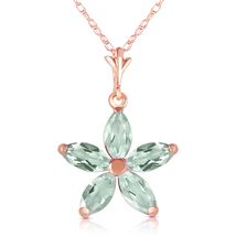 1.4 Ct 14k Solid Rose Gold One Rainy Day Green Amethyst Necklace - $200.18+