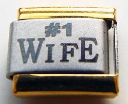 #1 wife gold edge laser 9mm stainless steel italian charm bracelet link new - $3.99
