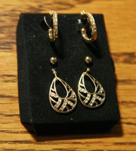 Wave 3 Pair Earring Gift Set - Pierced - Gold Tone - $12.97